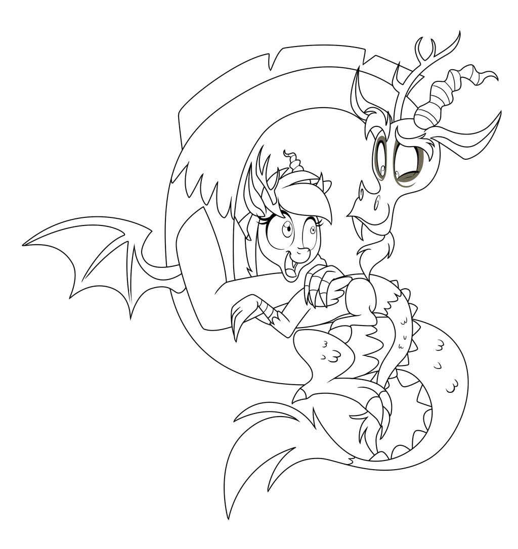 My Little Pony Discord Coloring Pages : Discord and bella line art point comission by icelion on