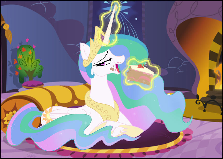 Celestia Eating A Cake