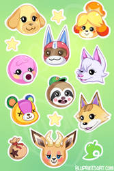 Animal Crossing sticker sheet by BluevanDeurs