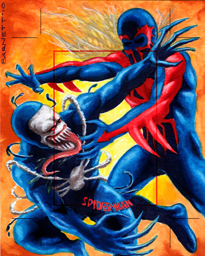 Spider-man 2099 vs. Venom 2099 by artguyNJ