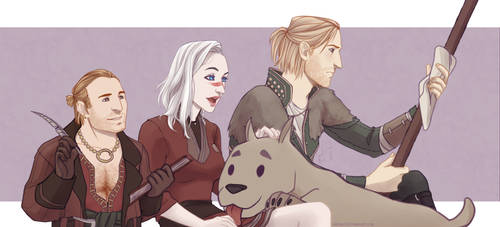 Commission: Elizabeth Hawke with Varric and Anders