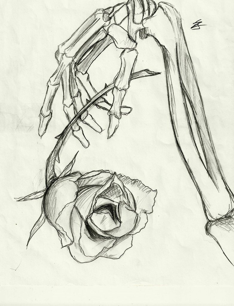 Skeleton hand dropping rose by thegirlwhodrawsstuff on for Hand holding a rose drawing