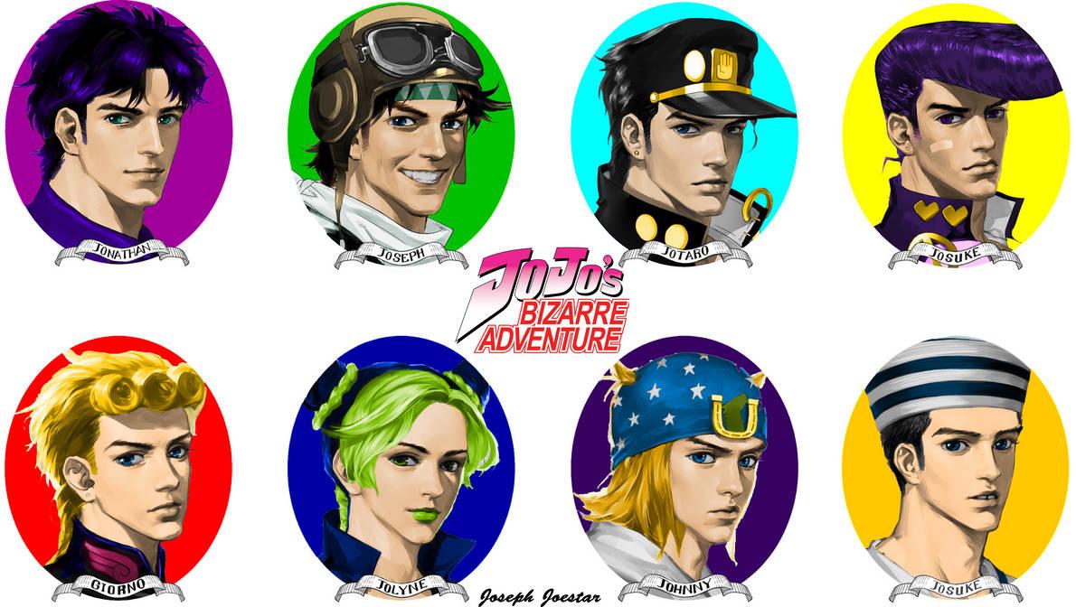 All The Jojo's Colored Jotaro Black Hair by JosephJoestar518