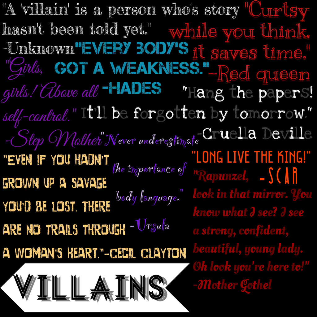 Disney VILLAIN quotes by TheAwusomePitchSlapp on DeviantArt