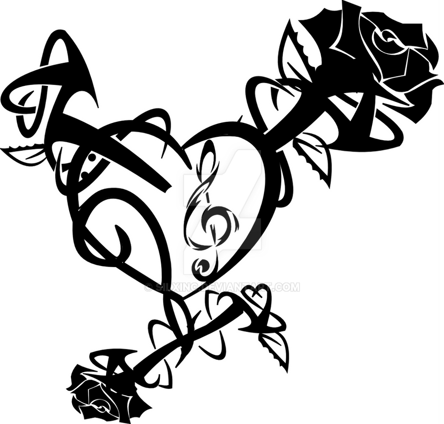 Drawings Of Tribal Hearts Tribal Rose Heart by S...