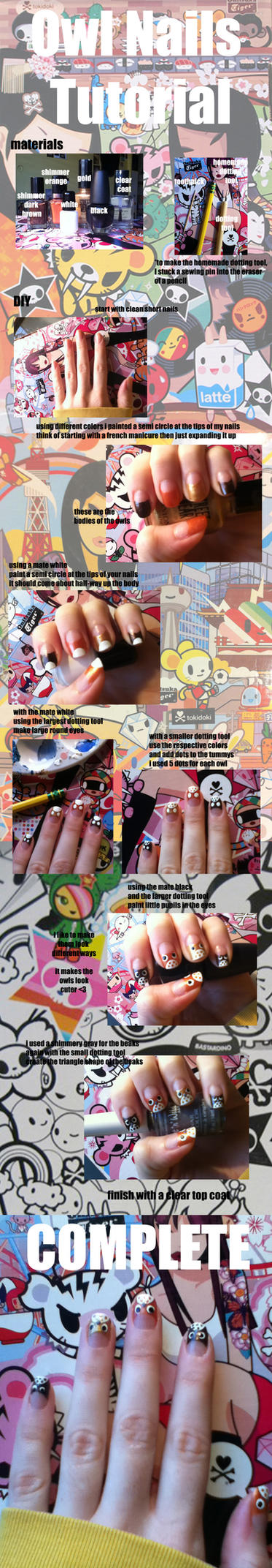owl nail art tutorial by KellaxProductions