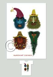 T-Shirt 'Masks' by vleta