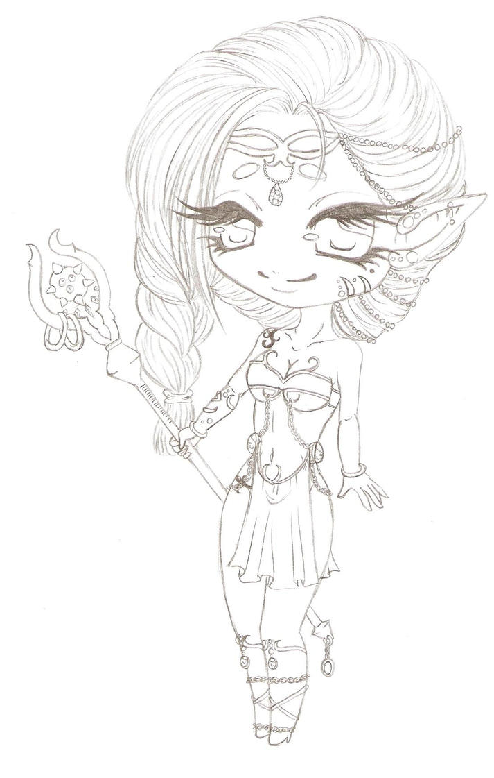 Elf Girl Adoptable chibi WIP by xoWish