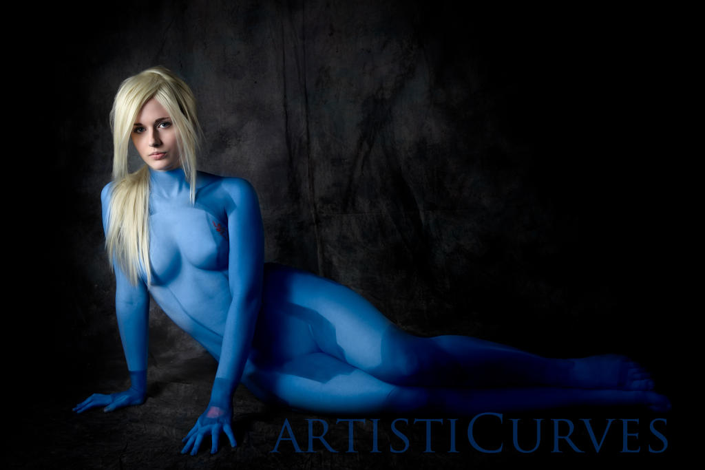Samus V Body paint Cosplay by oldmacman