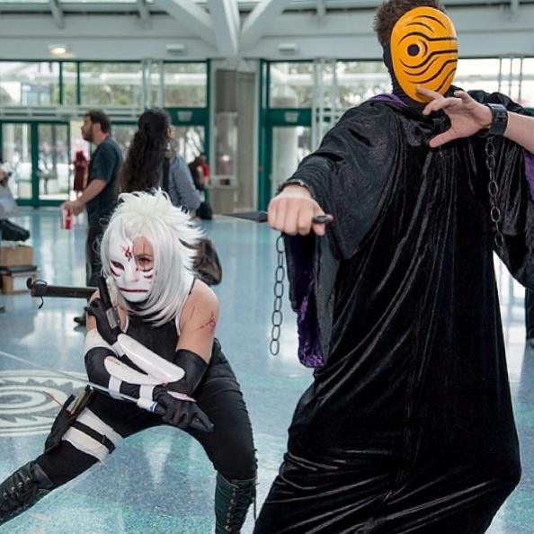 Battle Fem! Anbu Kakashi and Masked Man by ChidoriLove89