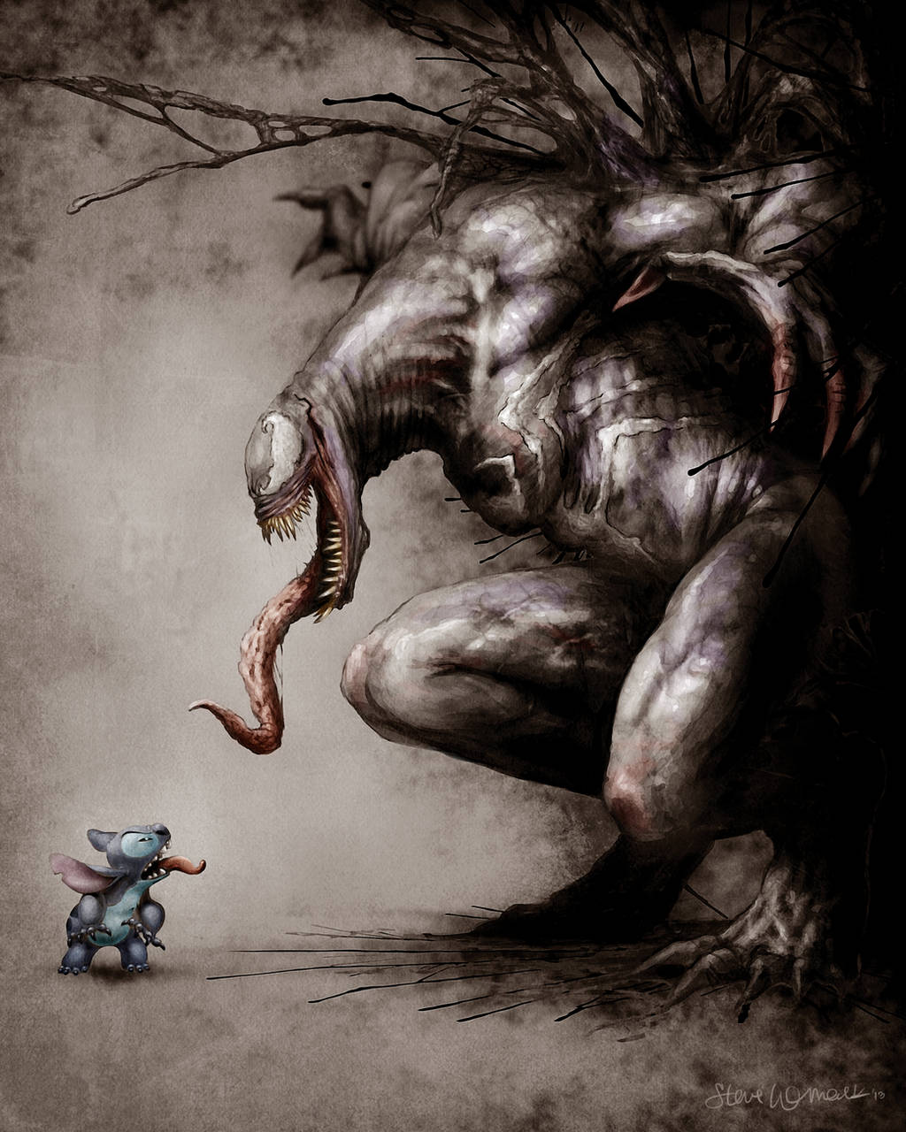 Stitch vs Venom by womackart