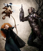 Jedi Mickey and Merida VS a Borg by womackart