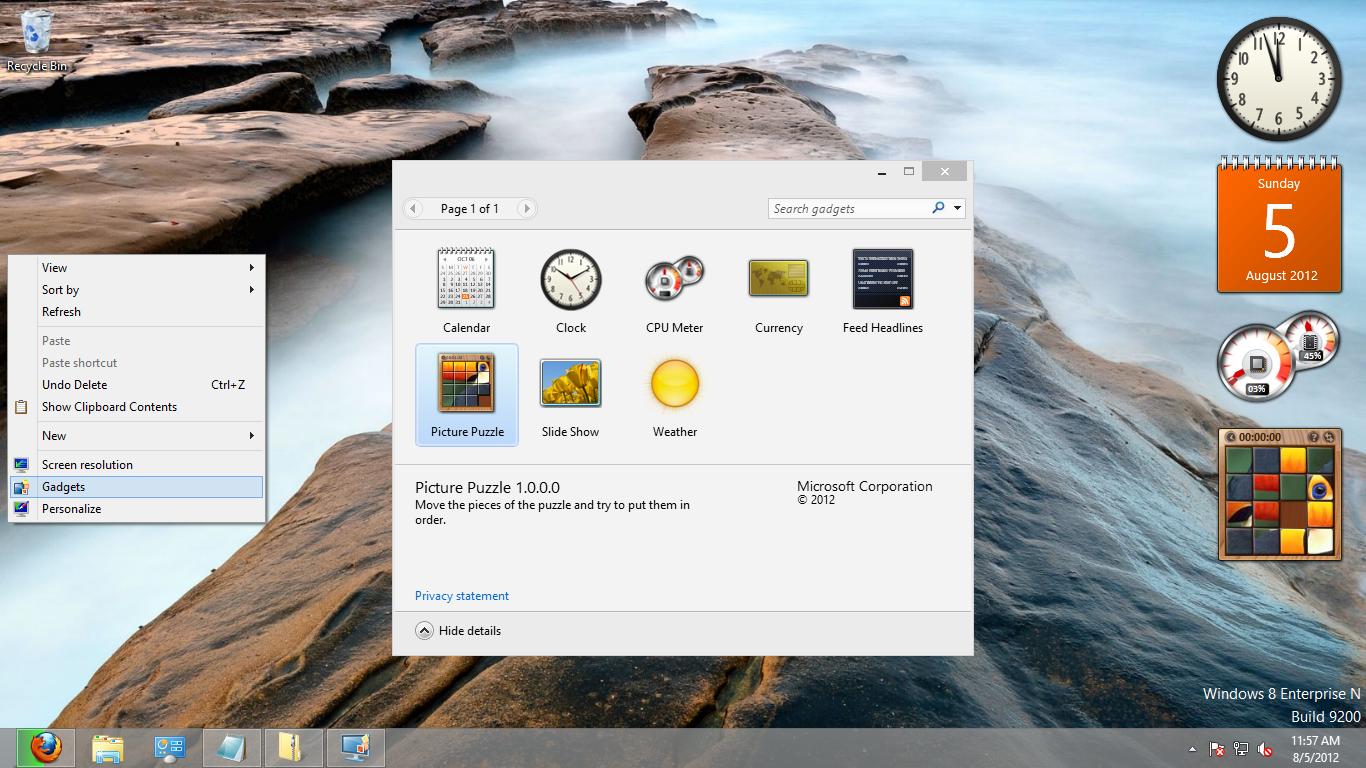 Windows Sidebar for Windows 8 RTM