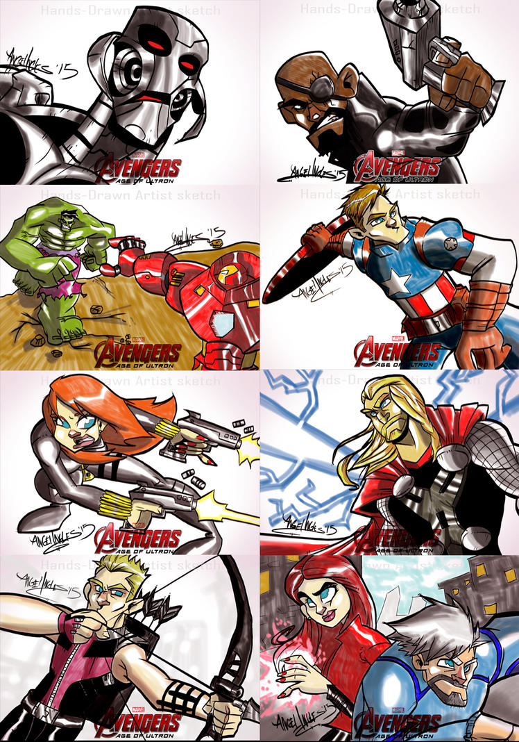 The Avengers Age Of Ultron Sketch Cards by nekroworld-AgL
