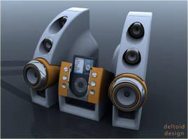 ipod deltoid speakers by deltoiddesign