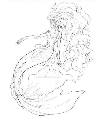 Mermaid Line Art By Sharonearth ...