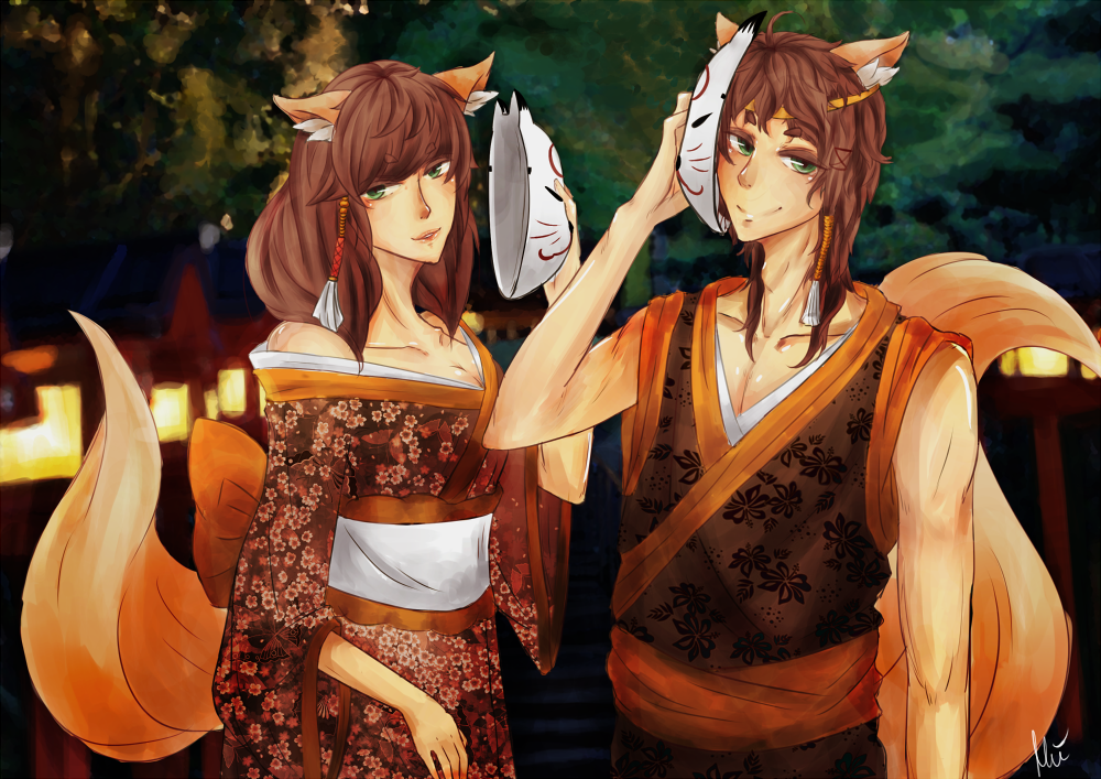 Kitsune siblings by Miinchi