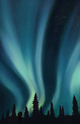 Northern Lights painting