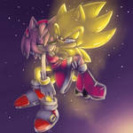 Super Sonic and Amy :speedpaint: