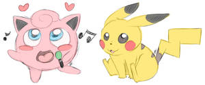 Jigglypuff and Pikachu