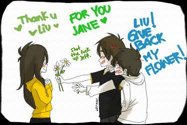 Jeff x Jane x Liu | LIUU GIVE BACK MY FLOWER! by LiizEsparza-Chan