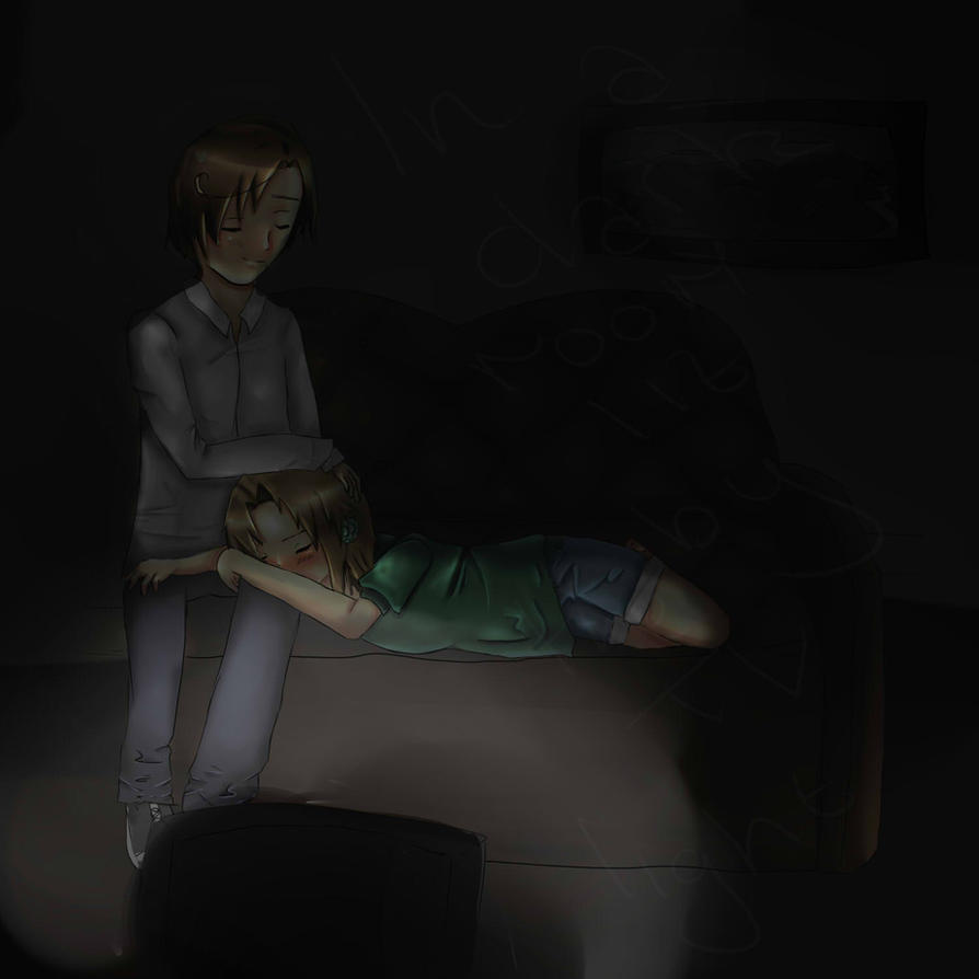 In a dark room lit by the TV light by Wolfmania013 on DeviantArt