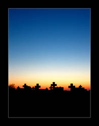 Sunset at the cemetary