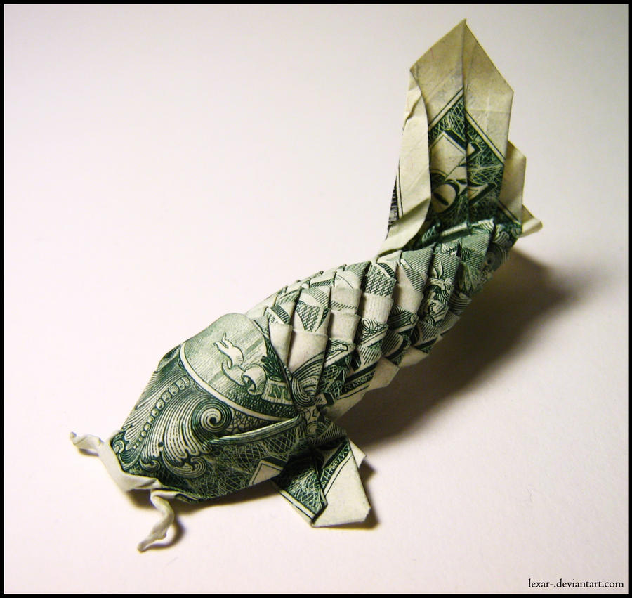 Dollar bill koi by lexar on deviantart for Dollar bill origami fish