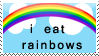 I Eat Rainbows Stamp by bizarrostamps