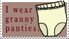I Wear Granny Panties Stamp by bizarrostamps