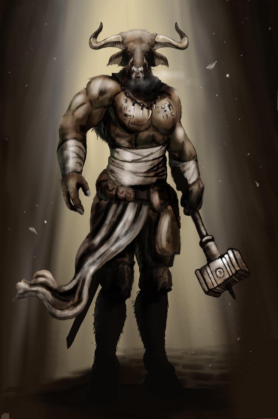 Stravične i jezive legende Minotaur_warrior_by_bradlyvancamp-d4l8l8o