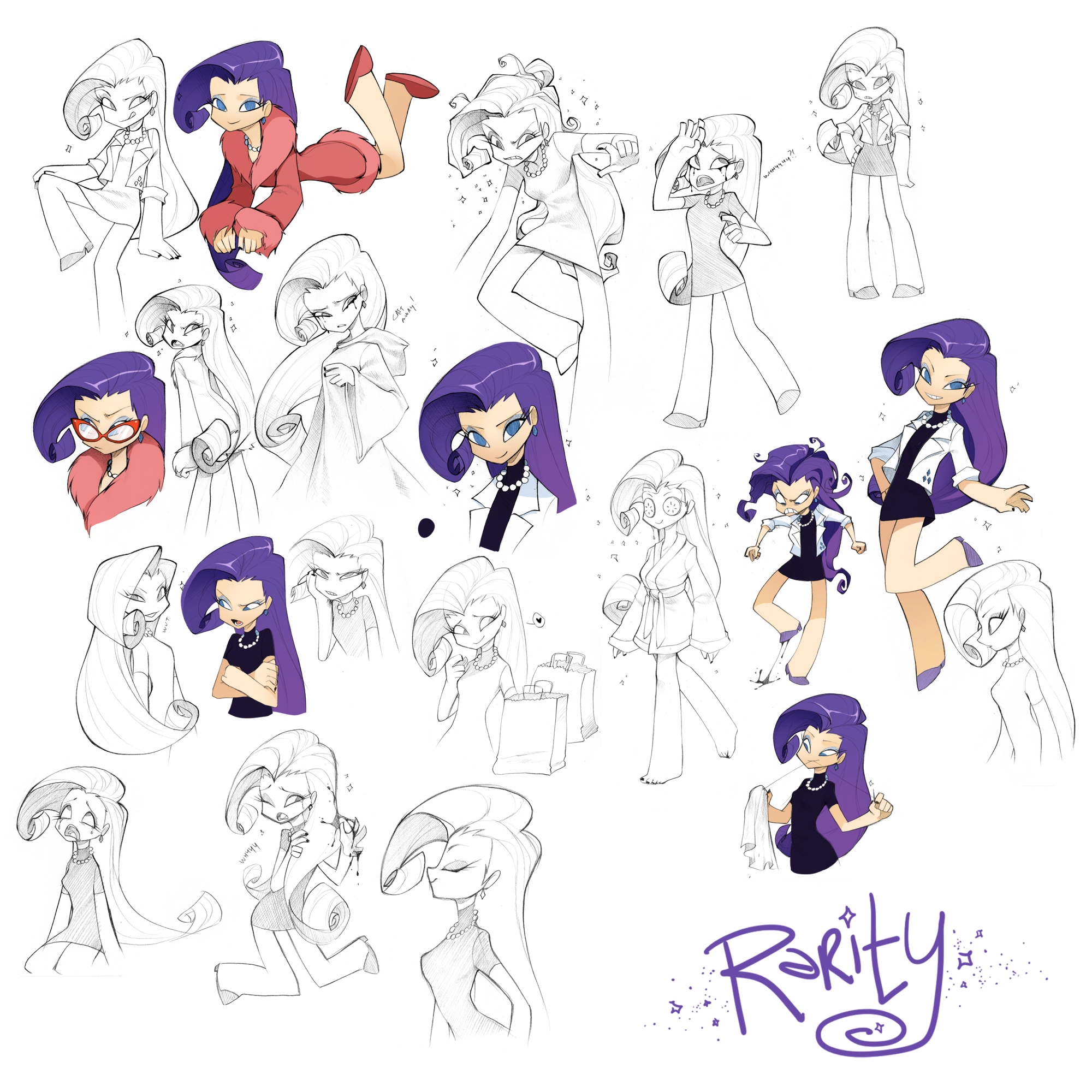 Rarity Doodles by Pappomut