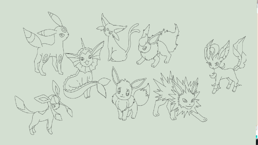 eevee evolutions coloring pages - eevee evolutions lineart by hynoryuu on deviantart