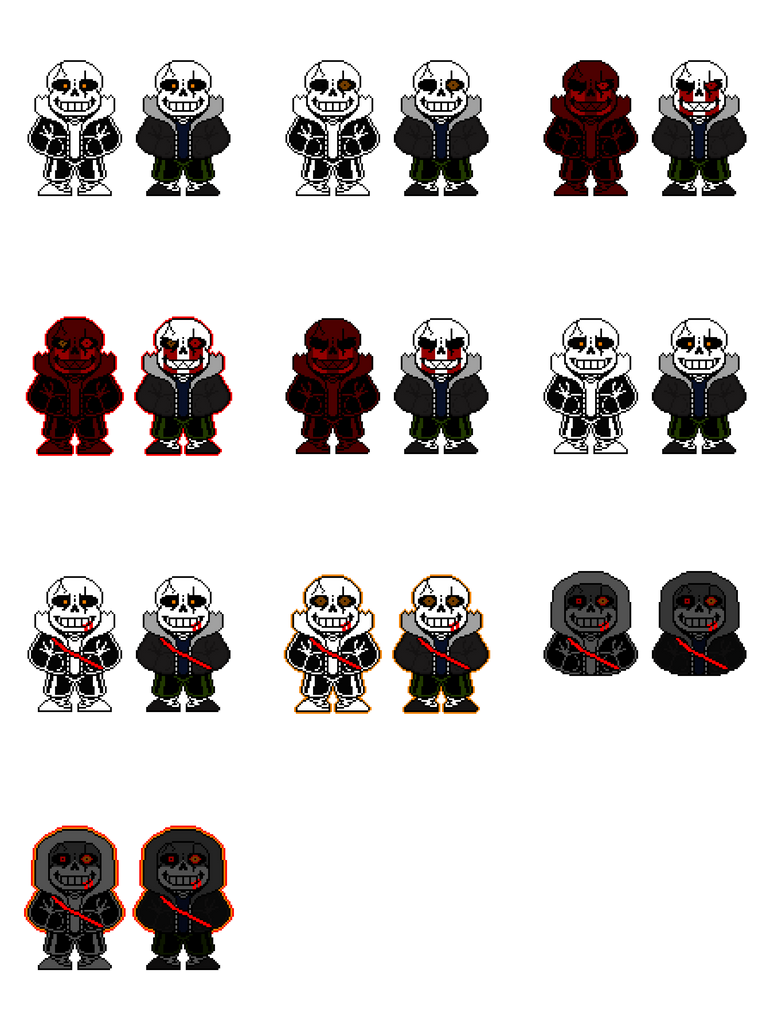 My Sans OC + Genocide eye, Dark form and INSANE by tehgruetpoopyrus