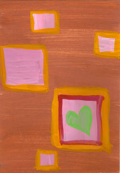 Postcard - Heart and Squares