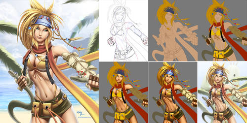 Rikku (Final Fantasy X / X-2) - Process by DigiFlohw