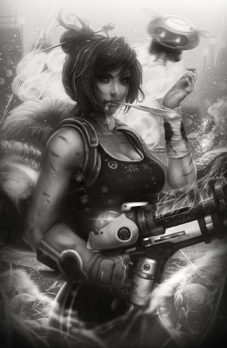 Frostbite (Overwatch) - Black and White by DigiFlohw