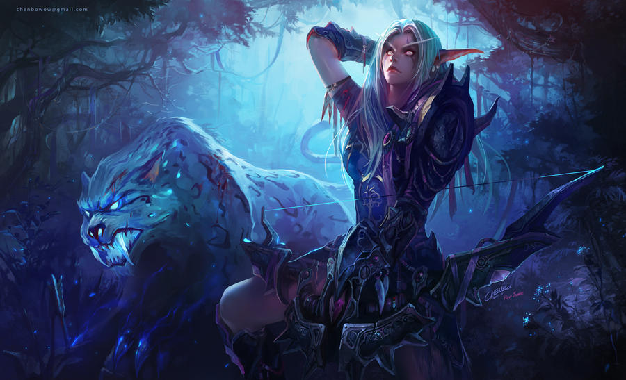 Night Elf Hunter with Spirit Beast by PureBlissXx