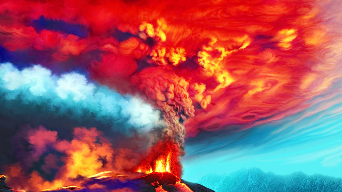 Erupting volcano by exobiology