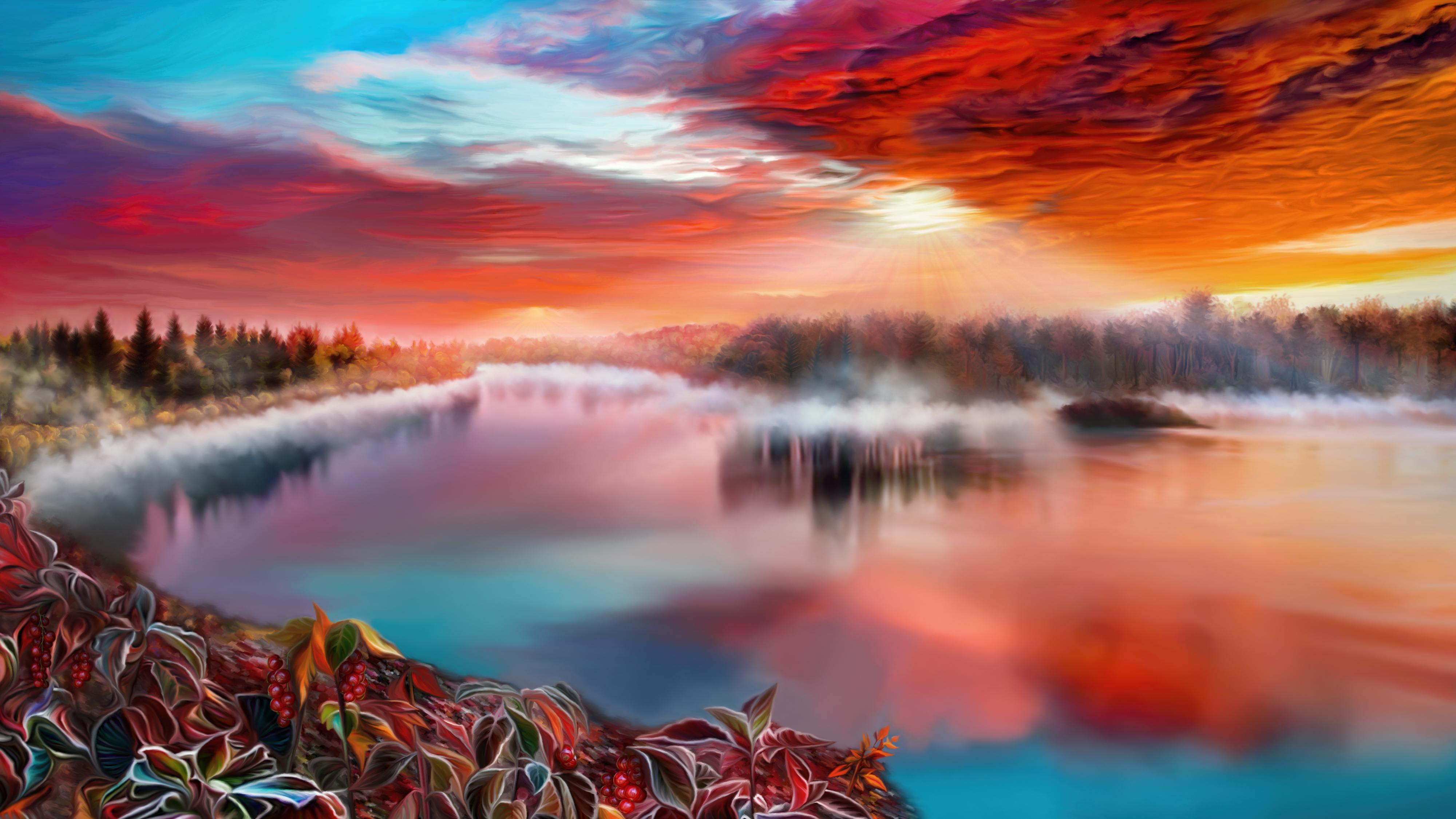 Misty river evening by exobiology