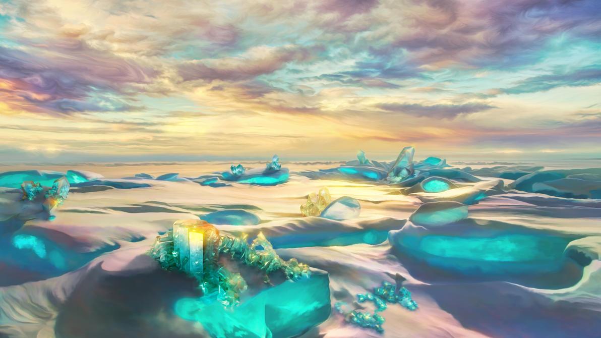 Crystal snow desert by exobiology
