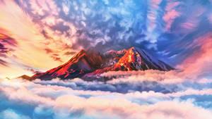 Flaming mountain top
