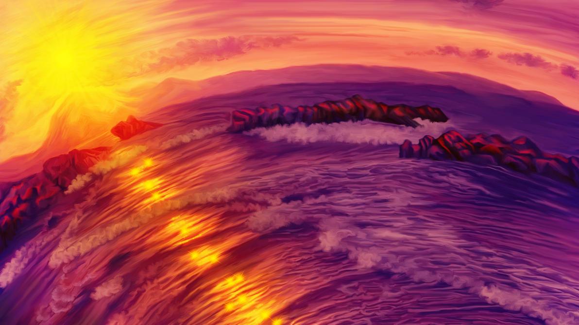 Purple sunset on Ardor planet by exobiology