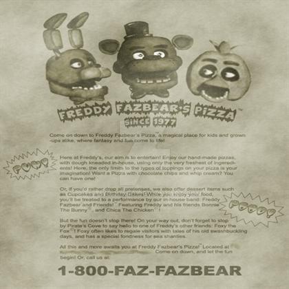 Freddy fazbears pizza flyer by twoolard on deviantart