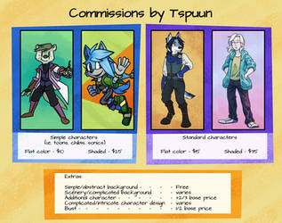 Commission Sheet 2019 by Tspuun