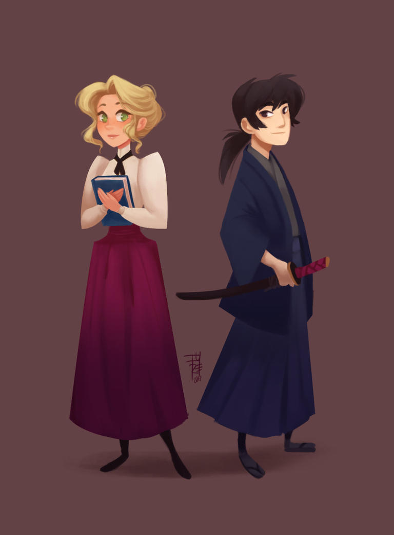 Lady and Samurai test by fydraws