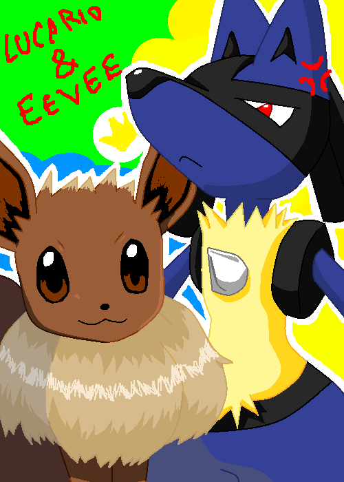 Pixel Lucario And Eevee By Tsukichire On Deviantart