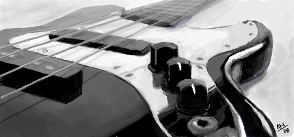 Facebook Graffiti: Bass Guitar by slownsilent