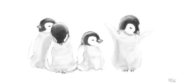 Facebook Graffiti: 4 Penguins by slownsilent