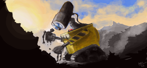 Facebook Graffiti: Wall-E by slownsilent